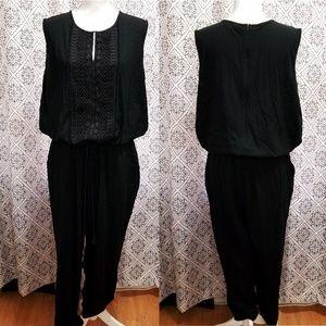 Ralph Lauren Polo Black Crochet Front Jumpsuit